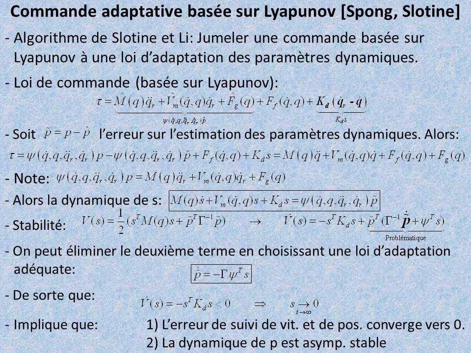 Commande adaptative basée sur Lyapunov [Spong, Slotine]